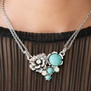 Silver Double Chain Necklace W/ Blue Crackle Stone